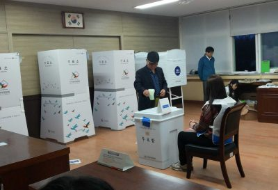 Koreans cast their ballots in April 13 Parliamentary elections. Photo/Tim Meisburger