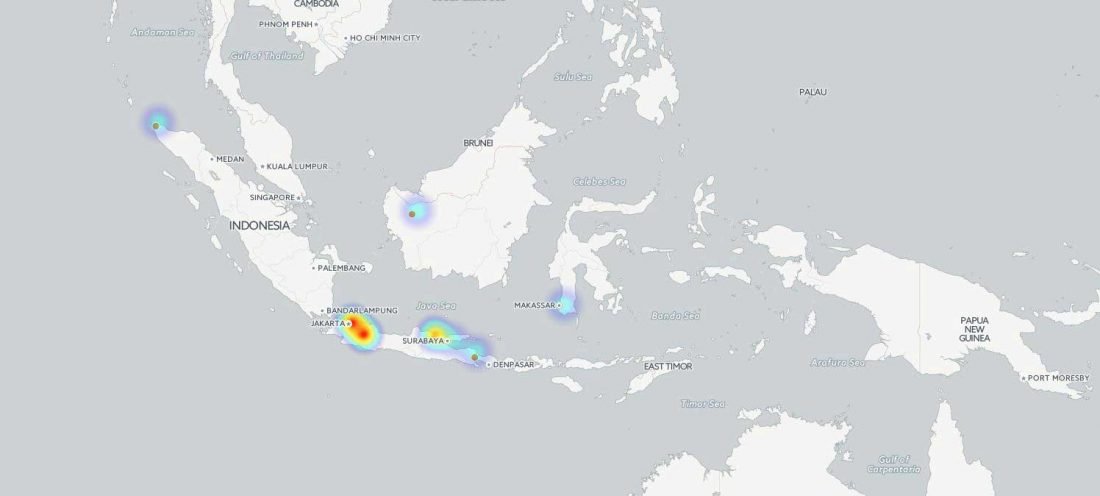 Figure 1. Heatmap showing the concentration of current digital governance initiatives throughout Indonesia.