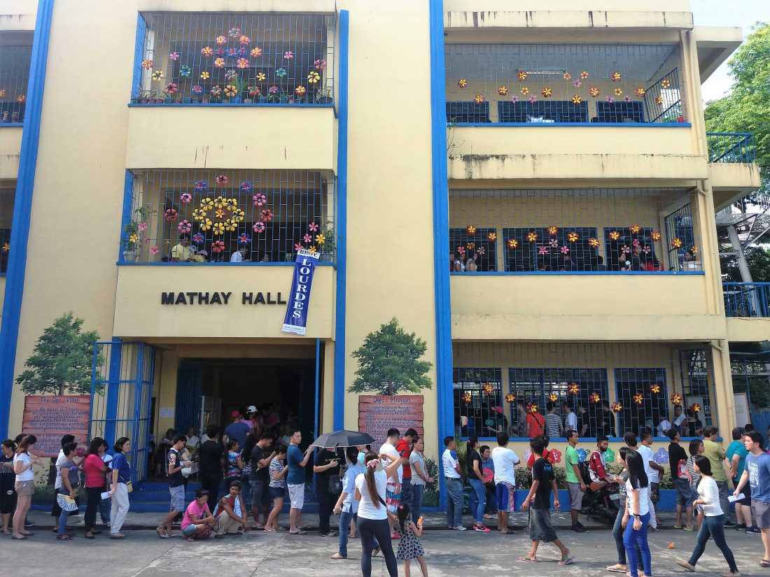 A typical multi-story voting center in the Philippines. Photo/Malu Cernero