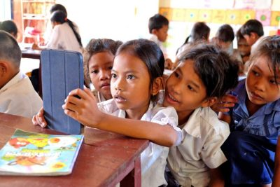 Cambodian students in the school library during a weekly reading session.