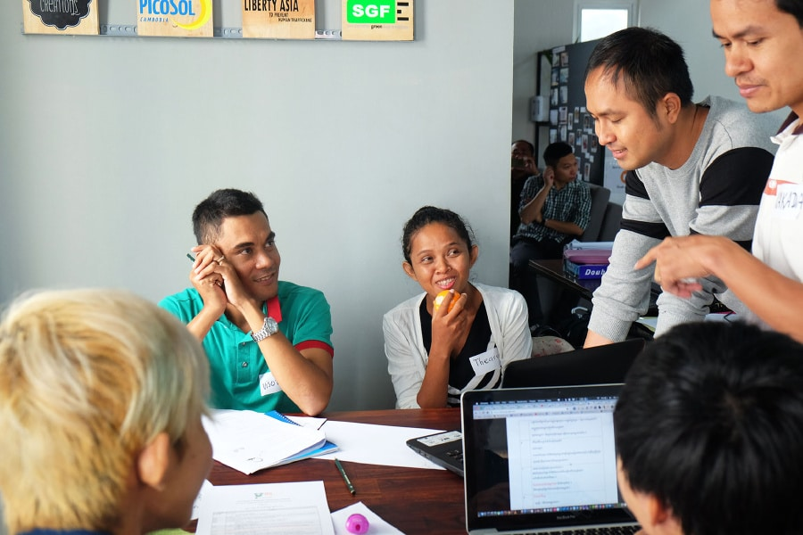 Participants at Books for Asia's very first e-book hackathon in Phnom Penh.
