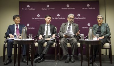 Panelists, left to right: Yoon Young-kwan, Thitinan Pongsudhirak, C. Raja Mohan, Ellen Laipson.
