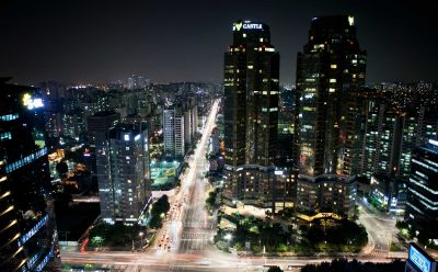 Downtown Seoul at night