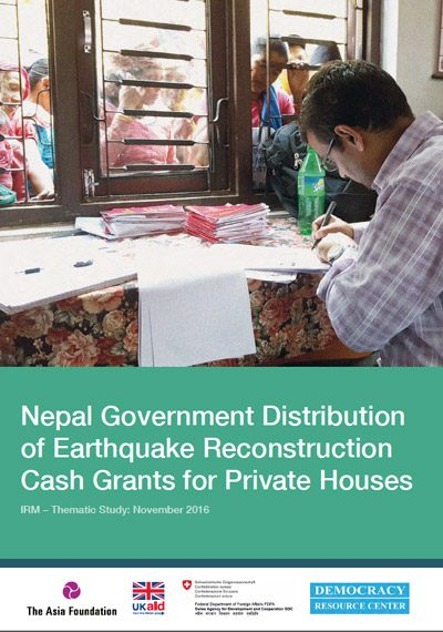 Nepal Government Distribution of Earthquake Reconstruction Cash Grants for Private Houses report cover