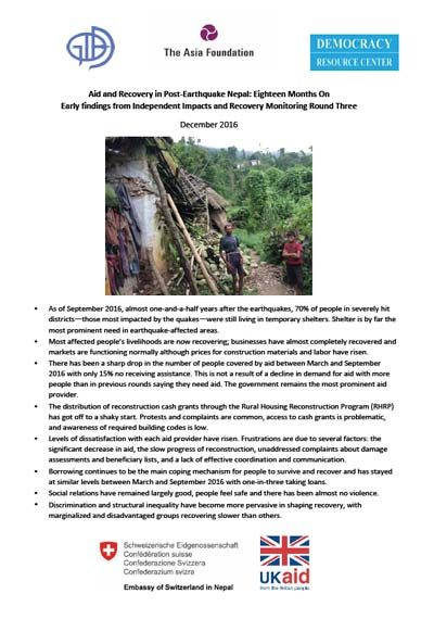 Aid and Recovery in Post‐Earthquake Nepal cover image