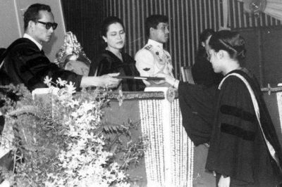 Picture of Thailand's King Bhumibol handing out diplomas in in 1979