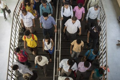 Commuters travel through one of New Delhi's 146 metro stations.