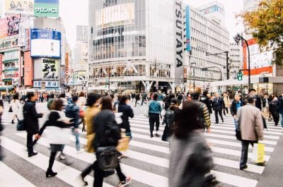A busy intersection in Japan.