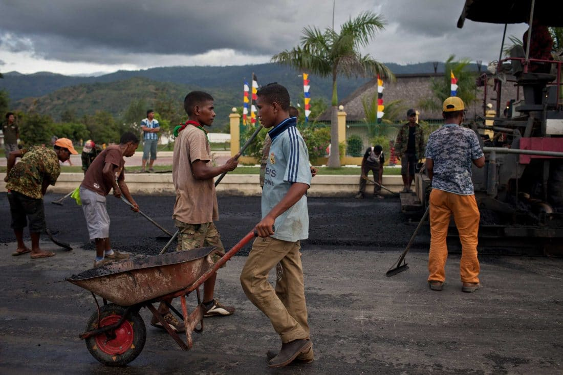 Road construction in Timor