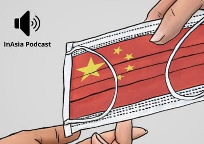 graphic: drawing of two hands passing Chinese-flag themed facemask with audio symbol in opposite corner