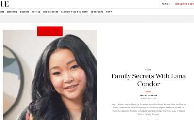 Screenshot of Vogue Paris article featuring actor Lana Condor