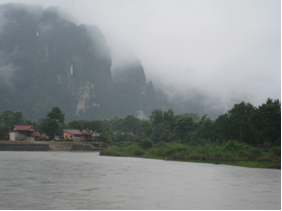 River view from Vang Vieng central.