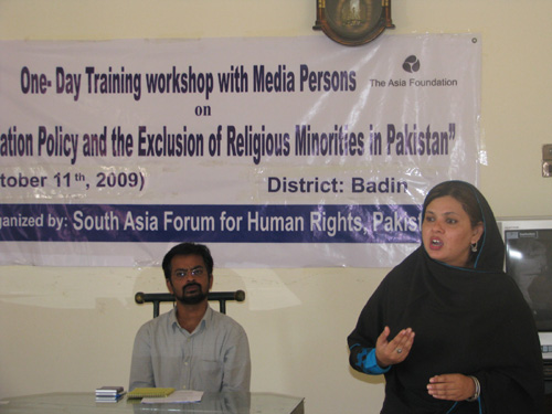 The Asia Foundation sponsors a one-day media training workshop in Pakistan's Badin district on the exclusion of religious minorities.