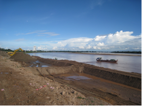 Ahead of the 2009 Southeast Asian Games, development begins on a riverfront boardwalk along the Mekong River near Vientiane.