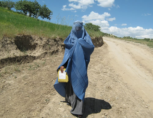 An Afghan woman polls local villagers for The Asia Foundation's Afghan survey.