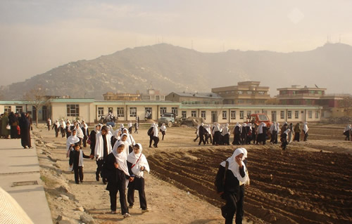 Girls walk home from the Rabia-e Balkhi High School in Kabul.