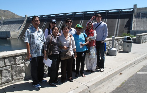 Participants from seven Asia country's visit the Grand Coulee Dam to study water resource management issues.