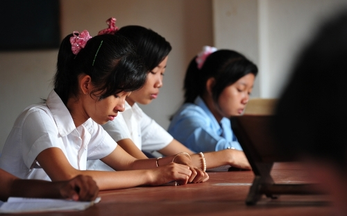 Cambodian girls study