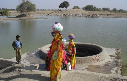 Women collect water in India