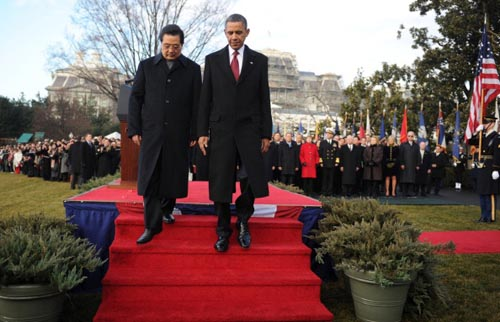 China's President Hu Jintao meets with President Obama in Washington