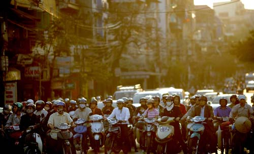 Motorcycles line up in Hanoi