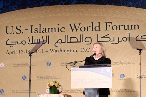 Hillary Clinton delivers keynote at U.S.-Islamic World Forum