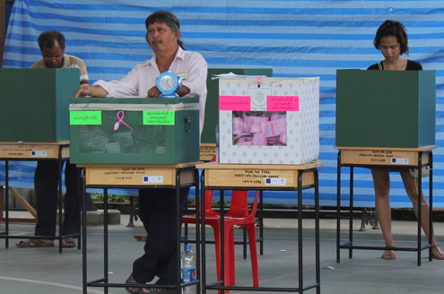 Thai election ballot boxes