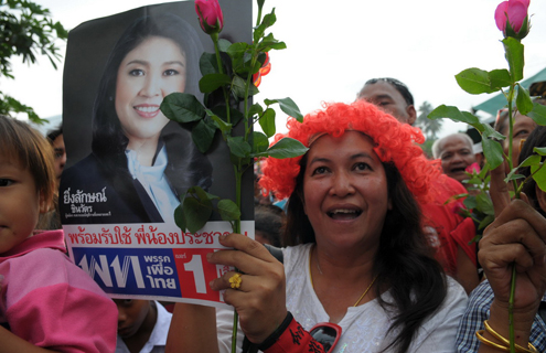 A supporter of Yingluck Shinwatra