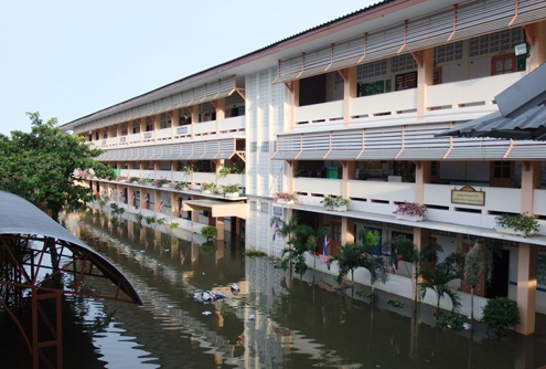 Flooded schools in Thailand