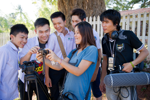 Students participate in filmmaking in Laos