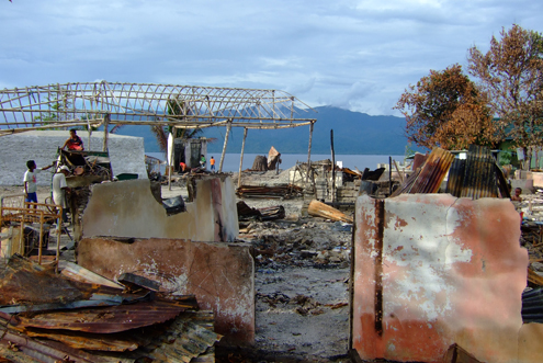 Burned houses in Haruku