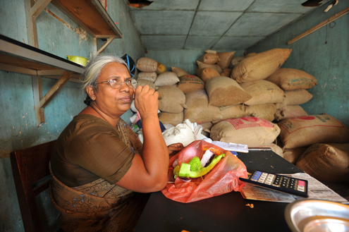 A store owner in Sri Lanka