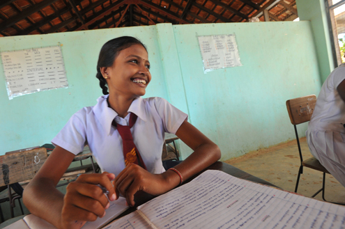 A student in Sri Lanka
