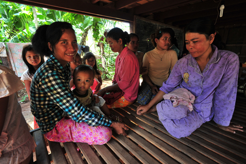 Women relax at home in Cambodia