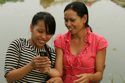 Vietnamese youth on their phone