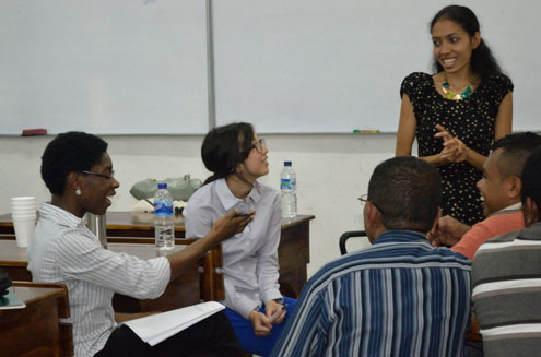 Stanford law students and TLLEP members Jackie Iwata (second from left) and Hamida Owusu (left) conduct a focus group with UNTL law students on legal education in Timor-Leste.