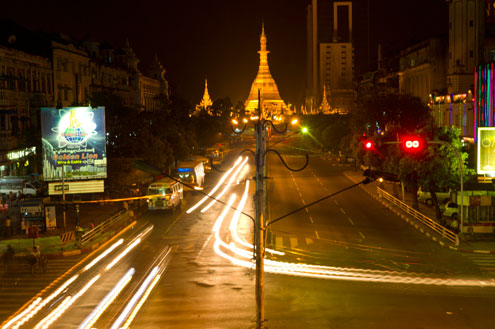 Myanmar street at night