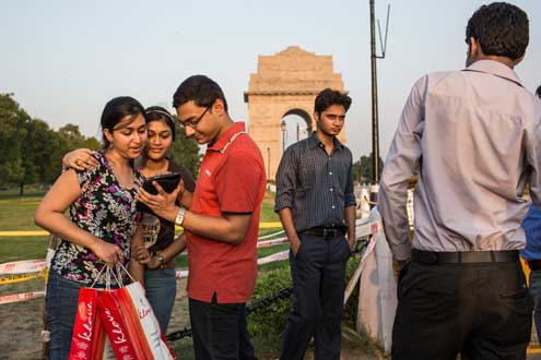 India is one of the youngest countries in the world, with an estimated 65 percent of the population under the age of 35. With an estimated 150 million 18- to 23-year-olds eligible to vote for the first time, political parties are actively using social media to reach these young voters. Photo/Conor Ashleigh