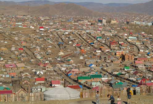 As rural residents flood to the capital, Ulaanbaatar, in search of work, city residents now account for one-half of Mongolia's total population, with 60 percent of those city residents living in the ger districts. Photo/Kristin Kelly Colombano