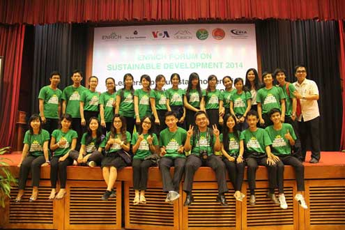 Youth participate in the first Forum on Sustainable Development on August 23 in Phnom Penh.