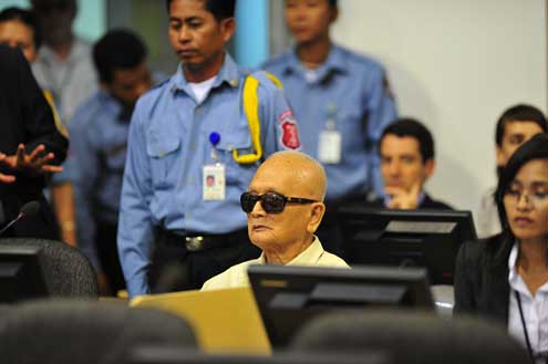 The UN-backed court's long-anticipated verdict made headlines in major international and national newspapers, and the international community welcomed the decision, saying that justice has finally been brought to the people of Cambodia. Above, Nuon Chea during a Trial Chamber hearing. Photo/Flickr user Extraordinary Chambers in the Court of Cambodia