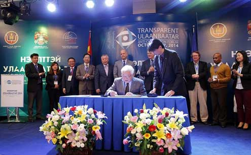 Mayor Bat-Uul signed the Ulaanbaatar Declaration Against Corruption,