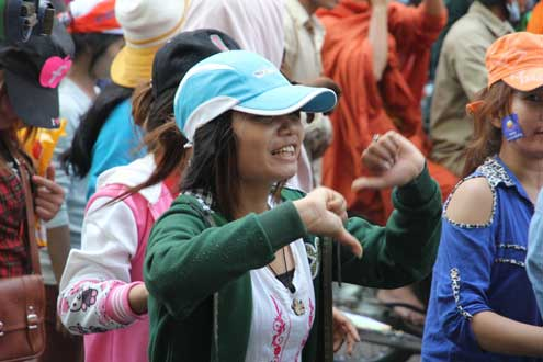 Cambodians protest election results.