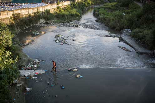 A polluted river in Nepal.
