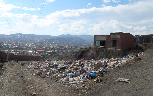Garbage acculumates in ger area outside of Ulaanbaatar