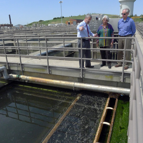 David Duest, Dr. Isher Judge Ahluwalia, and Gerald Martin of The Asia Foundation speak at Deer Island Water Treatment Plant.