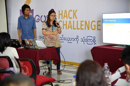 Third place winners Team Koe Koe Wave present their app to judges. Photo/Thet Htoo