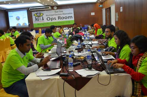 On December 30, millions of voters headed to the polls to elect new local leaders in 234 municipalities across Bangladesh. Here, citizen election observers provide election updates in real-time from this operations room.