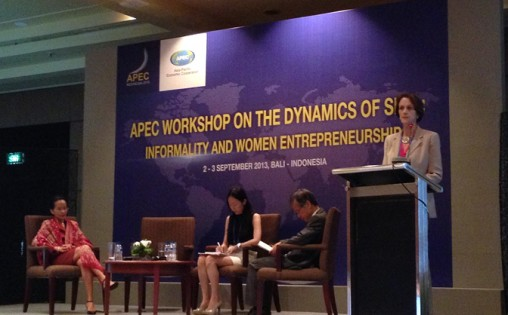 Carol Yost, The Asia Foundation's Senior Director of Women's Empowerment Programs, and panelists present findings from The Foundation's new report on barriers to women in business at the 2013 APEC meetings, held September 2-3 in Bali, Indonesia.