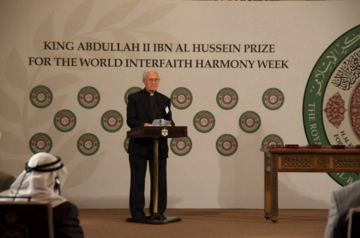 Silsilah's Fr. Sebastiano d' Ambra at King Abdullah II World Interfaith Harmony Week (WIHW) Award in Jordan. Photo credit: Silsilah